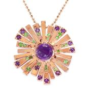 Women's Pink Gold Plated 925 Sterling Silver Pendant with Amethyst and Tsavorite