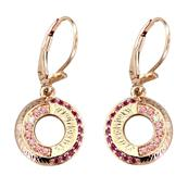 Women's Earrings with Fancy Pink Swarovski Zirconia, Ruby Medium Swarovski Zirconia and White Swarovski Zirconia