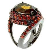 "Gorgeous Silver Ring with Brown Quartz and Orange Sapphire (Ring Size 8"")"