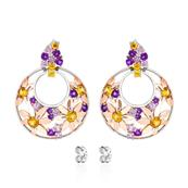 Rhodium and Pink Gold Plated 925 Sterling Silver earrings with Orange Sapphire Pink Sapphire Amethyst Yellow Sapphire