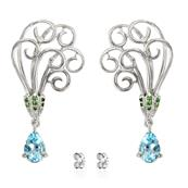 Rhodium Plated Earrings with Sky Blue Topaz, Green Tsavorite and Premium Cubic Zirconia
