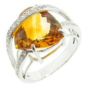 "925 Sterling Silver Ring with Large Citrine (Ring Size 8"")"