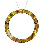 Round 925 Sterling Silver Pendant with Mother of Pearl