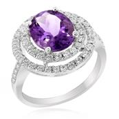 Oval Brilliant Amethyst With Premium CZ on Silver Ring