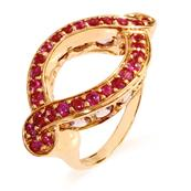 Pink Gold Coated Sterling Silver Ring with Ruby and Amethyst