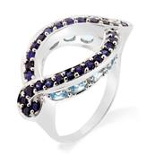 Rhodium Plated Sterling Silver Ring with Blue Sapphires and Blue Topaz