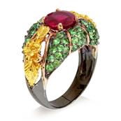 """Antique"" Styled Silver Ring with Ruby, Tsavorite and Yellow Sapphire"