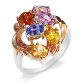 Rhodium and Pink Gold Plated Silver Ring with Multiple Sapphires and Hessonite