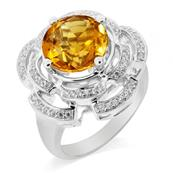 Rhodium Coated 925 Sterling Silver Ring with Citrine and Cubic Zirconia