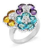 Rhodium Plated 925 Sterling Silver Ring with Amethyst, Blue Topaz, Citrine and Cubic Zirconia