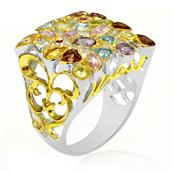 Rhodium Plated Silver Ring with Pink Sapphire, Blue Topaz, Amethyst and Garnet