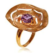 Dark Pink Gold Plated Flower Ring with Round Amethyst
