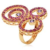 Ladies Pink Gold Plated 925 Sterling Silver Ring with Amethyst and Rubies