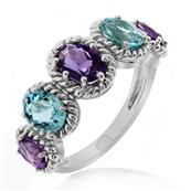 Women's Rhodium Plated 925 Sterling Silver Ring with AAA Grade Oval Amethyst and Aquamarine