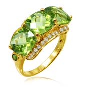 Women's Yellow Gold Plated 925 Sterling Silver Ring with Peridot, Chrome Diopside and 4A Grade Cubic Zirconia