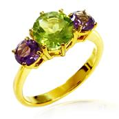 Yellow Gold Plated Silver Three Stone Ring with Peridot and Amethysts