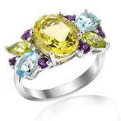 Rhodium Plated Silver Ring with lemon Quartz, Amethysts and Blue Topaz