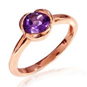 Pink Gold Plated Silver Solitaire Ring with Amethyst