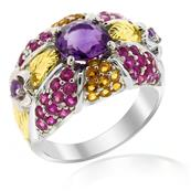 Rhodium Plated Silver Ring with Amethyst Rubies and Citrine