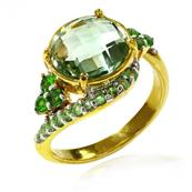 18K Gold Plated Ring with Round Green Amethyst, Tsavorite and Chrome Diopside