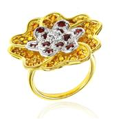 Yellow Gold Plated Silver Flower Ring with Yellow Sapphires and Garnets