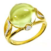 Yellow Gold Plated Silver Ring with Lemon Quartz and Cubic Zirconia