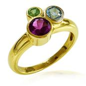 Yellow Gold Plated Silver Ring with Rhodolite, Peridot and Blue Topaz