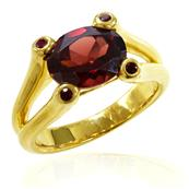 Yellow Gold Plated Silver Ring with Oval Garnet