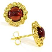 Yellow Gold Plated Silver Earrings with Garnet and Peridot