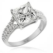LENYA ETERNAL Rhodium Plated Silver Ring made with SWAROVSKI ZIRCONIA in Princess Cut
