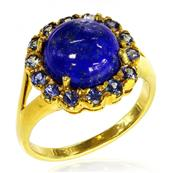Yellow Gold silver Plated Ring with Lapis and Blue Sapphire
