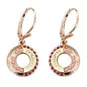Women's Earrings with Fancy Pink Swarovski Zirconia, Ruby Medium Swarovski Zirconia and White Swarovski Zirconia