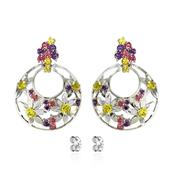 Rhodium Plated 925 Sterling Silver earrings with Fancy Pink, Fancy Purple and Golden Yellow SWAROVSKIZIRCONIA