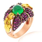 Pink Gold Plated Ring with Original Green Agate, Rubies and Yellow Sapphires