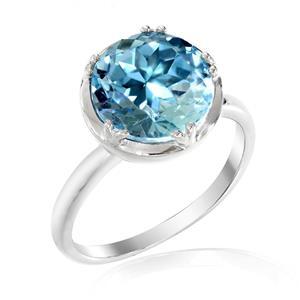 แหวนพลอยบลู โทปาซ (Blue Topaz) สีฟ้าเสริมดวงเรื่องหน้าที่การงาน มีผู้สนับสนุนอุปถัมภ์ค่อยให้การช่วยเหลือ  ตัวเรือนเงินแท้ชุบทองคำขาว