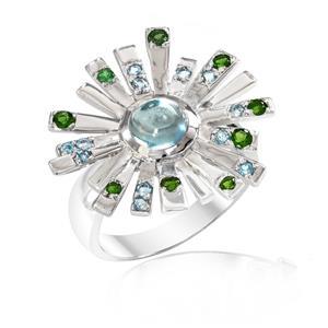 แหวนพลอยซาโวไรท์(Tsavorite) และบลูโทพาส(Blue topaz) ดีไซน์รูปพลุสุดสวยรับรองไม่เหมือนใคร บนตัวเรือนเงินแท้ชุบทองคำขาวแท้