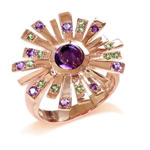 แหวนพลอยอเมทิสต์(Amethyst) และซาโวไรท์(Tsavorite) ดีไซน์รูปพลุสุดสวยรับรองไม่เหมือนใคร บนตัวเรือนเงินแท้ชุบสีพิงค์โกลด์แท้