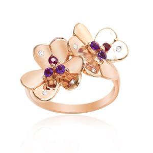 แหวนพลอยแท้หลากสีสันด้วยดีไซน์สุดหวาน ดอกไม้คู่บานสะพรั่งสำหรับต้อนรับหน้าร้อนนี้ บนตัวเรือนเงินแท้ชุบสีพิงค์โกลด์แท้