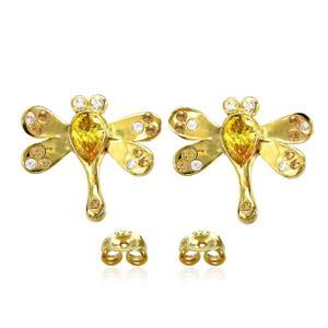 ต่างหูรูปแมงปอประดับ SWAROVSKI ZIRCONIA สีเหลืองทอง สีเหลืองอำพัน และสีแชมเปญ ตัวเรือนเงินแท้ชุบทองคำแท้