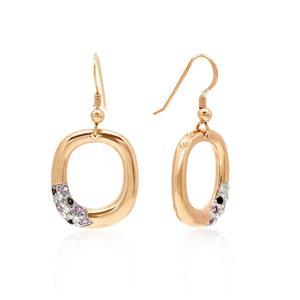 ต่างหูดีไซน์น่ารักตัวเรือนเงินแท้ชุบสีแบบทูโทน พิ้งค์โกลด์ ทองคำขาว ประดับเพชร DiamondLike แซฟไฟร์สีชมพู (Pink Sapphire) และสโมคกี้ควอตซ์ (Smoky Quartz)