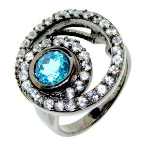 แหวนพลอยบูลโทพาส(Blue Topaz) ประดับด้วยพลอยแซฟไฟส์สีขาว(white Sapphire) บนตัวเรือนเงินแท้ชุบทองคำขาว