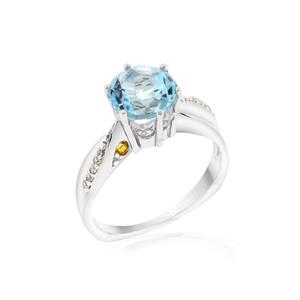 แหวนประดับ บลูโทปาซแท้ (Blue Topaz) สีฟ้า ซิทรีนแท้ (Citrine) สีเหลือง ตัวเรือนเงินแท้ชุบทองคำขาว
