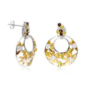 ต่างหูเงินแท้ ประดับบุษราคัม (Yellow Sapphire) สโมคกี้ควอทซ์ (Smoky Quartz) เพชร DiamondLike  ฉลุลายดอกไม้น่ารัก