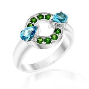 แหวนประดับพลอยบลูโทปาซและพลอยโครมไดออฟไซด์ ตัวเรือนเงินแท้ชุบทองคำขาว