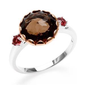 แหวน Lenya หัวแหวนสโมคกี้ควอทซ์ (Smoky Quartz) เม็ดโต ประดับพลอยโรโดไลท์ (Rhodolite) พร้อมเทคนิคพิเศษ ชุบขอบพิ้งค์โกลด์  บนตัวเรือนเงินแท้ชุบทองคำขาว