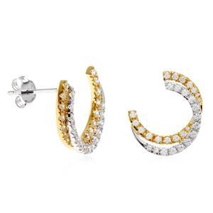 ต่างหู Lenya ดีไซน์เก๋ ประดับเพชร DiamondLike ตัวเรือนเงินแท้ โดดเด่นด้วยเทคนิคชุบสีแบบทูโทน ชุบทองคำขาว และทองคำแท้