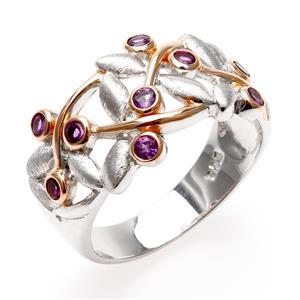 แหวนอะเมทิสต์ ลายแมลงปอ ตัวเรือนเงินแท้ ชุบทองคำขาวและทองชมพู 18K เก๋ไม่ซ้ำใคร ดีไซน์เฉพาะที่เลนญ่า
