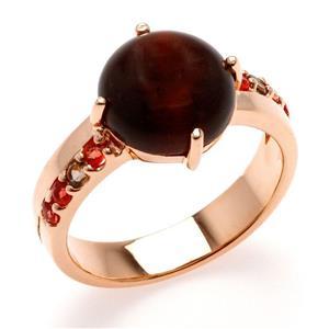 แหวนพลอยตาเสือ (Tiger's Eye) เม็ดโต ประดับ Smoky Quartz และ Orange Sapphire ตัวเรือนเงินแท้ชุบสีพิ้งค์โกลด์