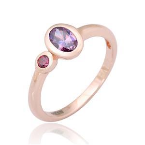 แหวน LENYA ETERNAL ประดับด้วย SWAROVSKI ZIRCONIA ดีไซน์น่ารักเรียบหรู ตัวเรือนเงินแท้ชุบสีพิ้งค์โกลด์ (Pink Gold)