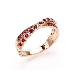 แหวนทับทิม อเมทิสต์ ดีไซน์ไขว้ สำหรับสาวที่เน้นลุคปราดเปรียว ตัวเรือนเงินแท้ชุบสีพิ้งค์โกลด์ (Pink Gold)